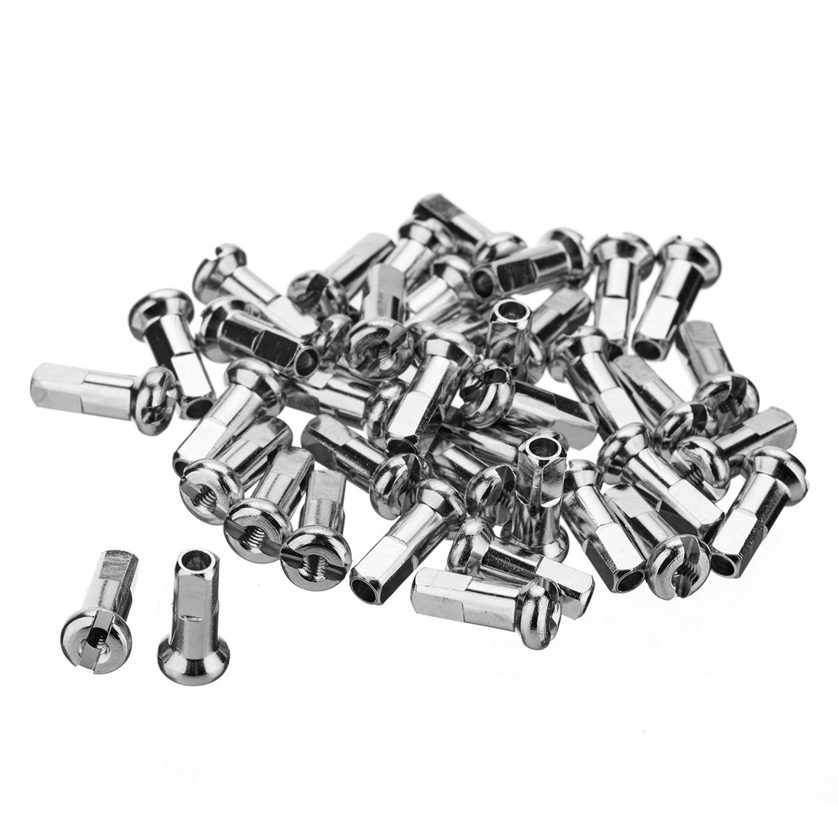 Brass Spoke Nipples Silver 40 Pack