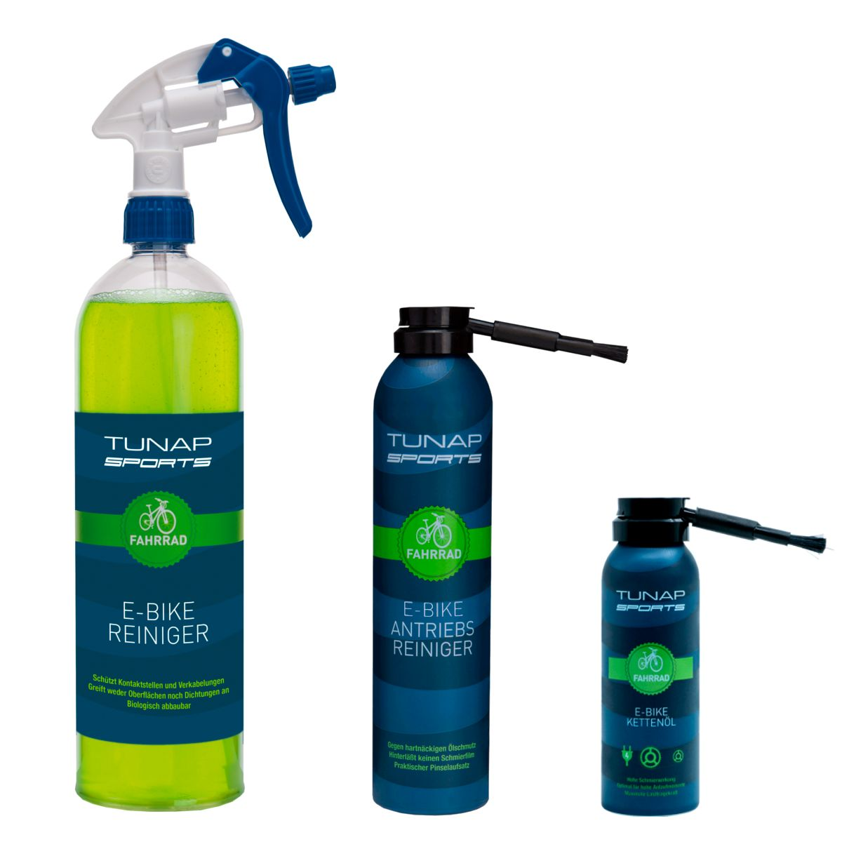 Tunap Sports E-bike cleaning and care kit cleaner, drivetrain cleaner and chain lube | Rengøring og smøremidler