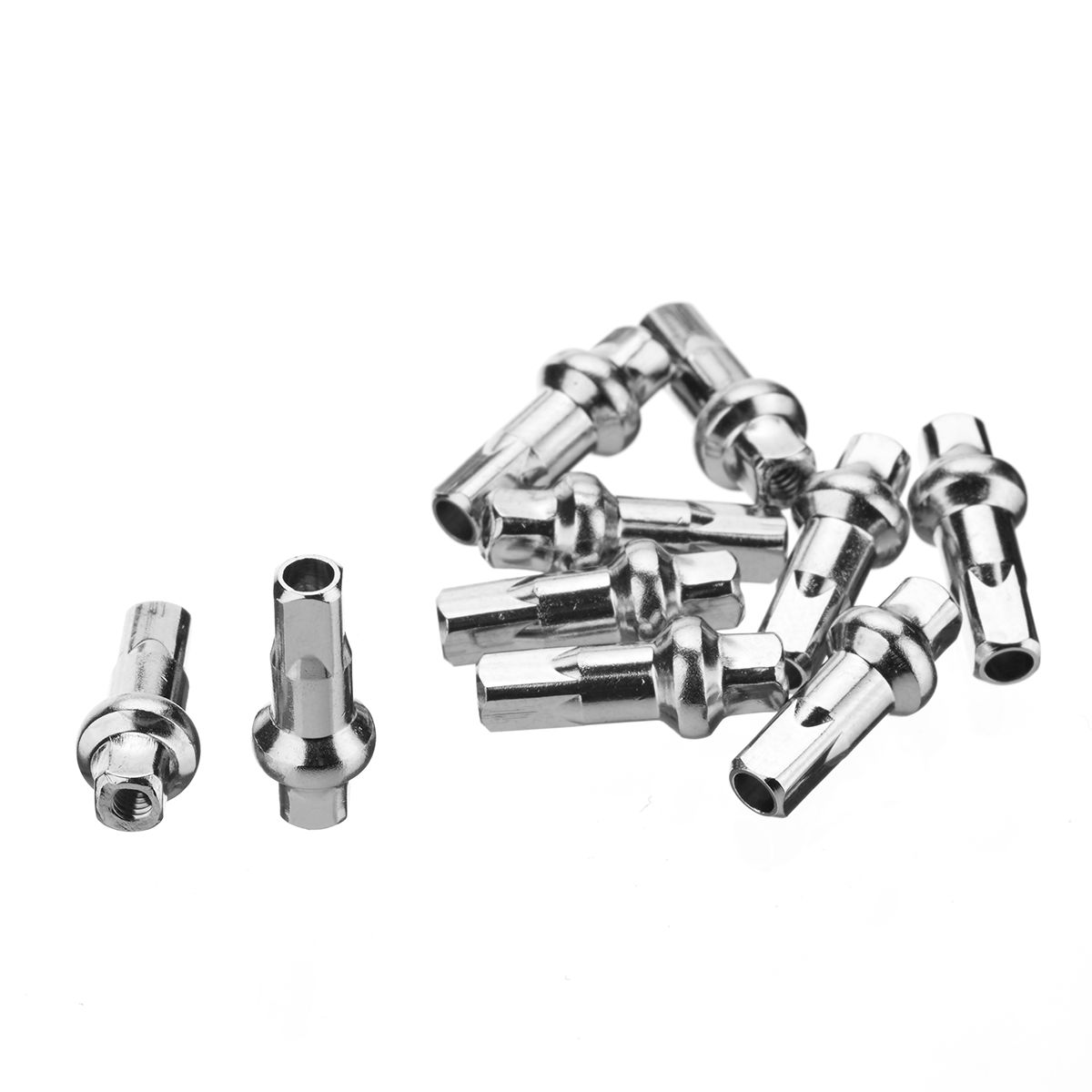Double Square Brass Spoke Nipples Silver 10 Pack