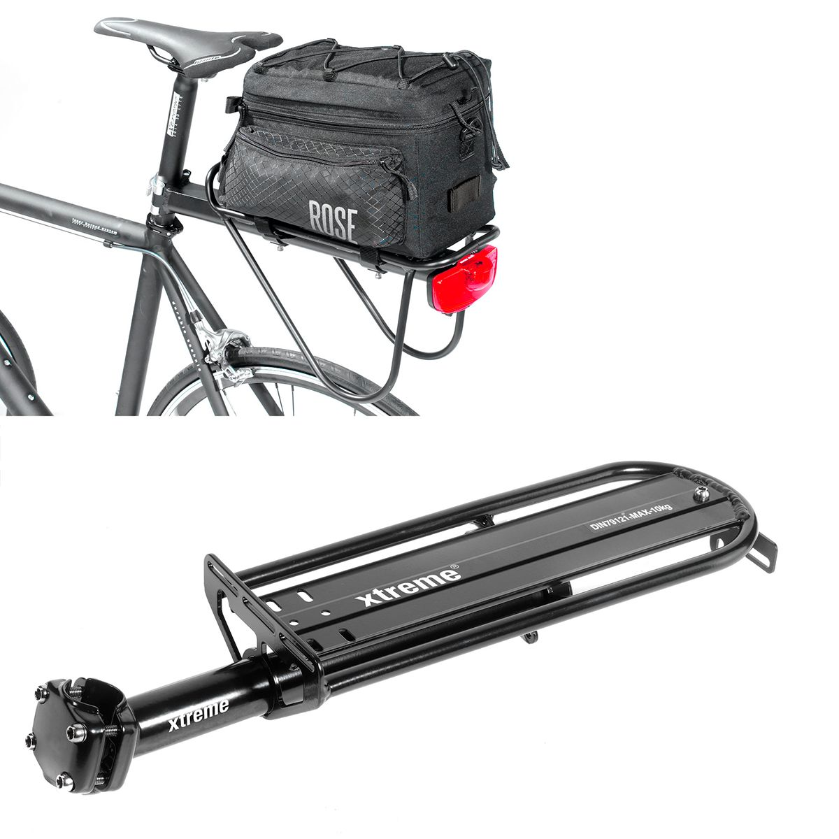 Xtreme Rack SP seatpost rack + Easybag