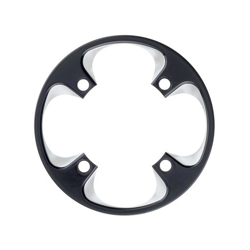 Bashguard for 36/38 t., aluminium, black polished, 4 arm, 104 mm bolt circle